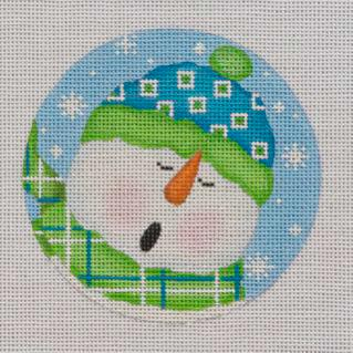 click here to view larger image of Caroling Snowman Ornament (hand painted canvases)