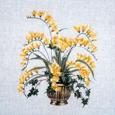click here to view larger image of Freesia in Brass Pot (hand painted canvases)