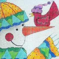 click here to view larger image of Snowman / Cardinal (hand painted canvases)