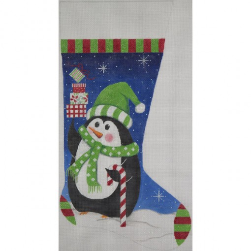click here to view larger image of Penguin and Gifts Stocking (hand painted canvases)