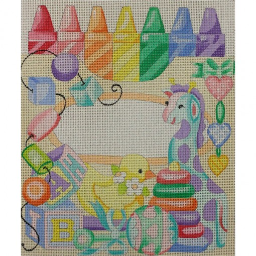 click here to view larger image of Crayon Birth Announcement (hand painted canvases)