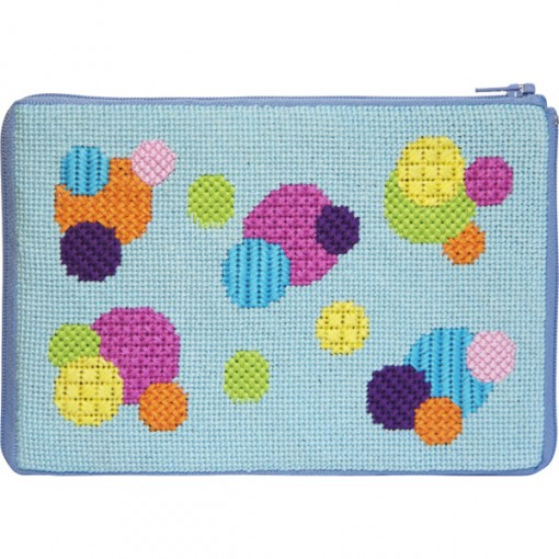 click here to view larger image of Bubbles Stitch n Zip Purse (needlepoint kits)