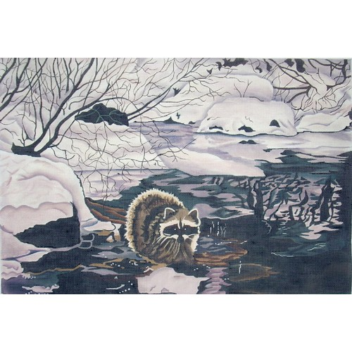 click here to view larger image of Raccoon on Creek (hand painted canvases)