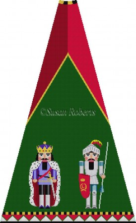 click here to view larger image of King Arthur and Sir Lancelot Nutcracker Tree Skirt Panel (with background) (hand painted canvases)
