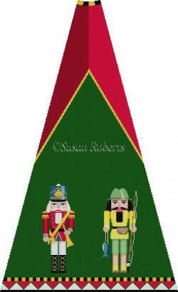 click here to view larger image of Trumpeter and Fisherman Nutcracker Tree Skirt Panel (with background) (hand painted canvases)
