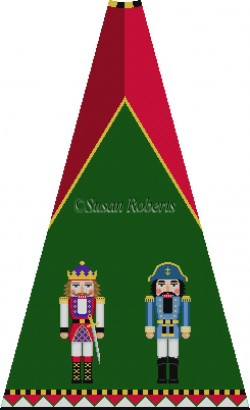 click here to view larger image of Red Purple King and Admiral Nutcracker Tree Skirt Panel (with background) (hand painted canvases)