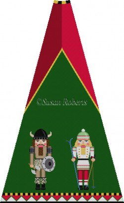 click here to view larger image of Viking and Skier Nutcracker Tree Skirt Panel (with background) (hand painted canvases)