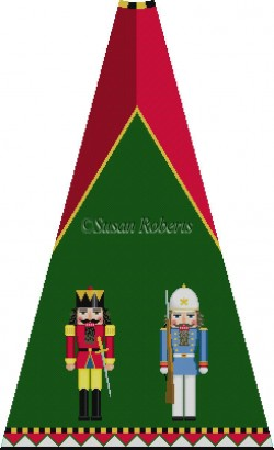 click here to view larger image of Red King and Blue Policeman Nutcracker Tree Skirt Panel (with background) (hand painted canvases)