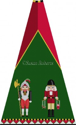 click here to view larger image of Swiss Guard and Puppeteer Nutcracker Tree Skirt Panel (with background) (hand painted canvases)