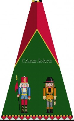 click here to view larger image of Sentry and Night Watchman Nutcracker Tree Skirt Panel (with background) (hand painted canvases)