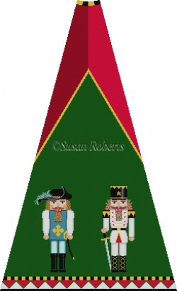 click here to view larger image of Musketeer and Policeman Nutcracker Tree Skirt Panel (with background) (hand painted canvases)