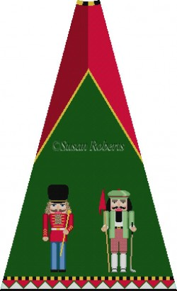 click here to view larger image of Band Major and Golfer Nutcracker Tree Skirt Panel (with background) (hand painted canvases)