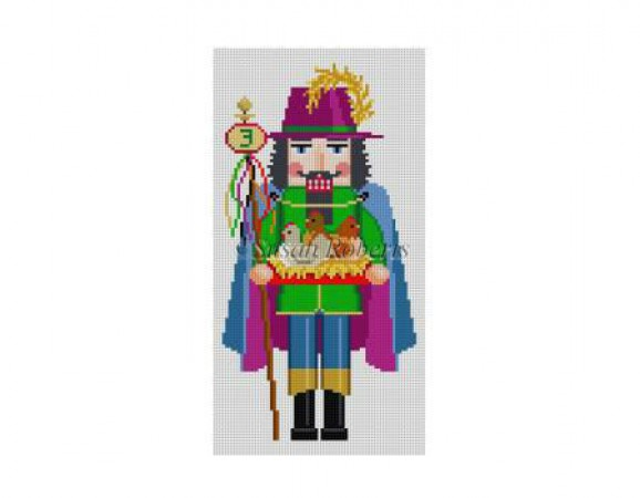 click here to view larger image of Three French Hens Nutcracker (hand painted canvases)