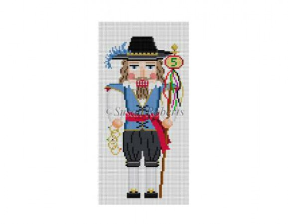 click here to view larger image of Five Golden Rings Nutcracker (hand painted canvases)