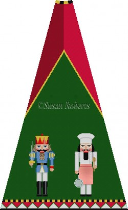 click here to view larger image of Blue Prince and Chef Nutcracker Tree Skirt Panel (without background) (hand painted canvases)