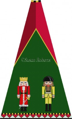 click here to view larger image of Red Ermine and Yellow Sp Guard Nutcracker Tree Skirt Panel (without background) (hand painted canvases)