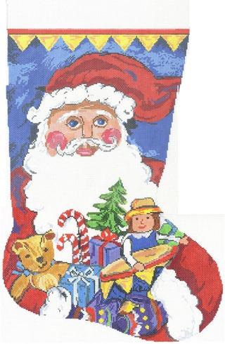 click here to view larger image of Santa Sock (hand painted canvases)