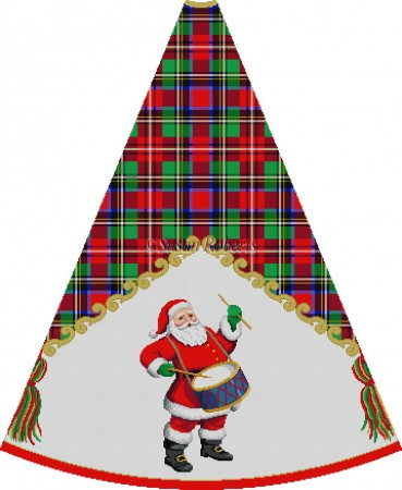 click here to view larger image of Red Suit Santa Playing Drum - Tartan Santa Tree Skirt (hand painted canvases)