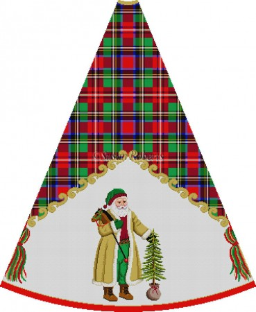 click here to view larger image of Shearling Coat Santa with Tree - Tartan Santa Tree Skirt (hand painted canvases)