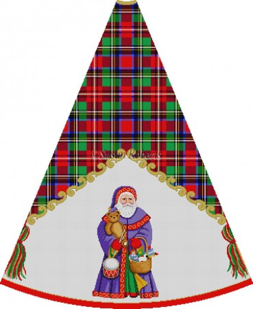 click here to view larger image of Grape Robe Santa with Toy Basket - Tartan Santa Tree Skirt (hand painted canvases)