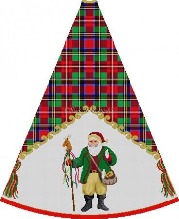 click here to view larger image of Loden Jacket Santa Feeding Birds - Tartan Santa Tree Skirt (hand painted canvases)