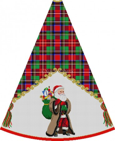 click here to view larger image of Santa in Brown Coat with Toy  Bag On Back - Tartan Santa Tree Skirt (hand painted canvases)