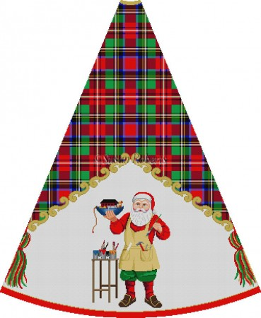 click here to view larger image of Santa Painting Ark - Tartan Santa Tree Skirt (hand painted canvases)