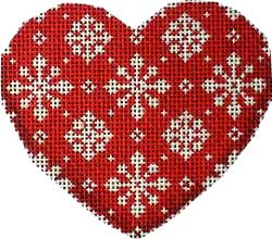 click here to view larger image of Snowflakes on Red Heart Ornament (hand painted canvases)