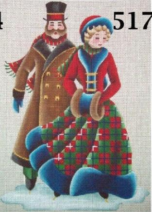 click here to view larger image of Victorian Skaters (hand painted canvases)