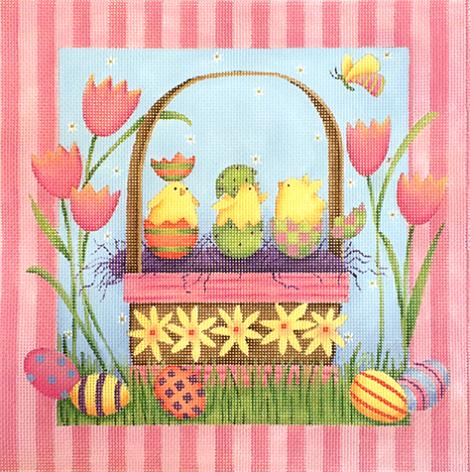 click here to view larger image of Easter Basket - 13ct (hand painted canvases)