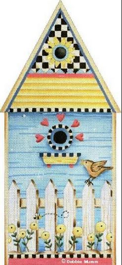 click here to view larger image of Bird & Bee Birdhouse (hand painted canvases)