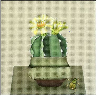 click here to view larger image of Yellow Vase Cactus (hand painted canvases)