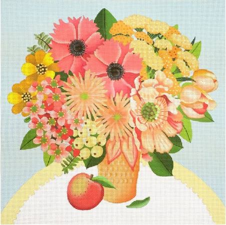 click here to view larger image of Peach Bouquet (hand painted canvases)