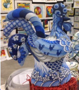Rooster (3D) Blue/White hand painted canvases