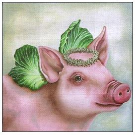 click here to view larger image of Angel Petunia the Pig (hand painted canvases)