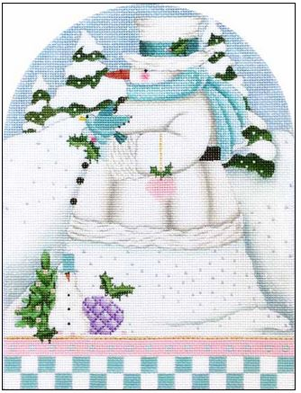click here to view larger image of Winter White Snowman Dome (hand painted canvases)