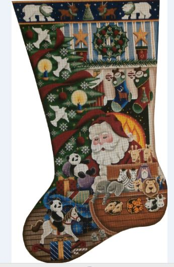 click here to view larger image of Noah's Ark Christmas Stocking - 13ct (hand painted canvases)