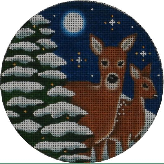 click here to view larger image of Evening Deer Ornament (hand painted canvases)