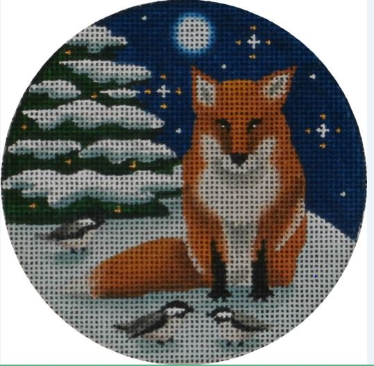 Winter Fox Ornament hand painted canvases