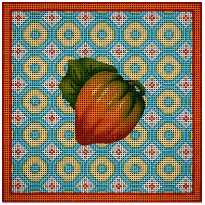 click here to view larger image of Acorn Squash Pastel Square (hand painted canvases)