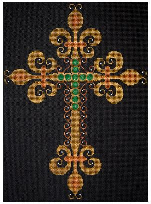 click here to view larger image of Gold Cross with Fleurs & Emeralds (hand painted canvases)