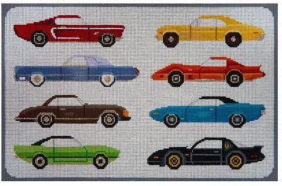click here to view larger image of Cars of the 70's (hand painted canvases)
