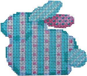 click here to view larger image of Aqua Stripe/Dots Baby Bunny (hand painted canvases)