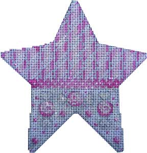 click here to view larger image of Canes/Peppermints Star Pink (hand painted canvases)