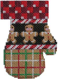 click here to view larger image of Checks/Gingerbread Mitten (hand painted canvases)