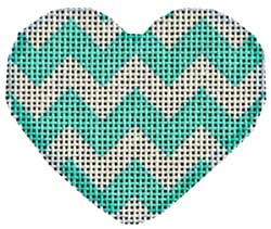 click here to view larger image of Aqua Chevron Mini Heart (hand painted canvases)