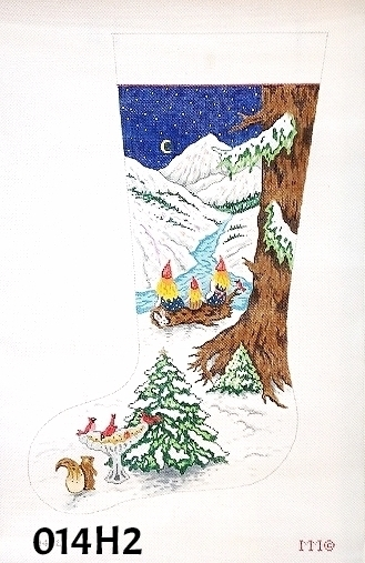 click here to view larger image of Three Girl Gnomes/Nordic Night  Stocking (hand painted canvases)