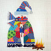 Patchwork Snowman Roasting Marshmallows hand painted canvases