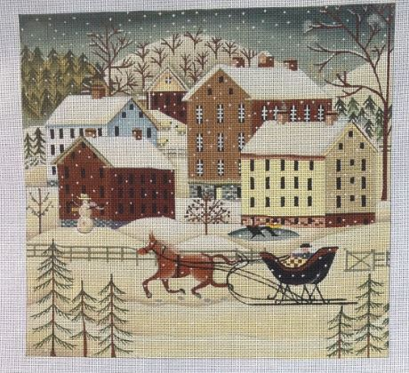 Winter Farm hand painted canvases