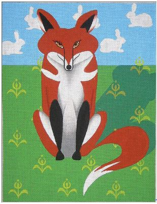 click here to view larger image of Fox in a Field - 18ct (hand painted canvases)